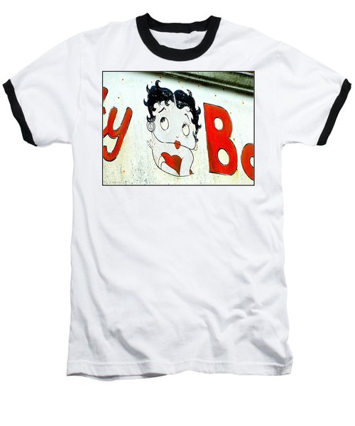 Betty Boop Herself Baseball T-Shirt by Kathy Barney