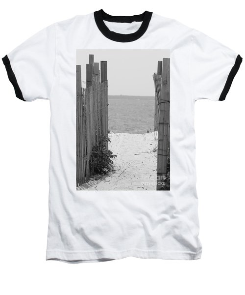 Beyond The Dunes Bw Baseball T-Shirt by Barbara Bardzik