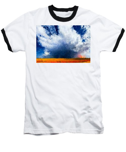 Baseball T-Shirt featuring the painting Big Cloud In A Field by Bruce Nutting