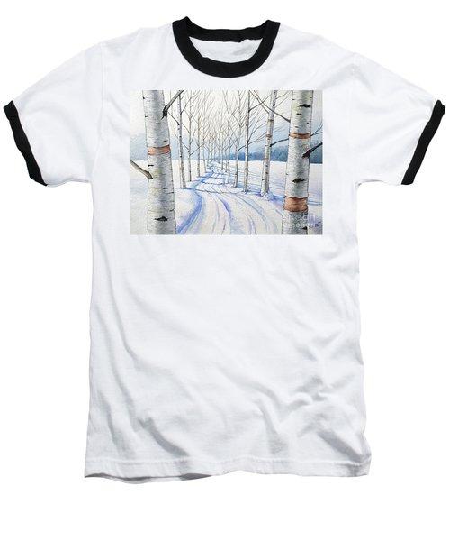 Birch Trees Along The Curvy Road Baseball T-Shirt