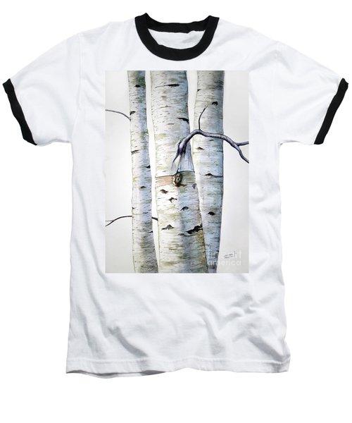Birch Trees In Watercolor Baseball T-Shirt