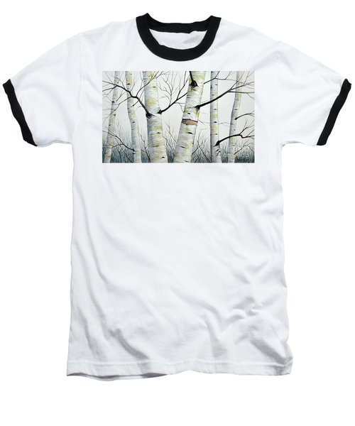 Birch Trees In The Forest In Watercolor Baseball T-Shirt