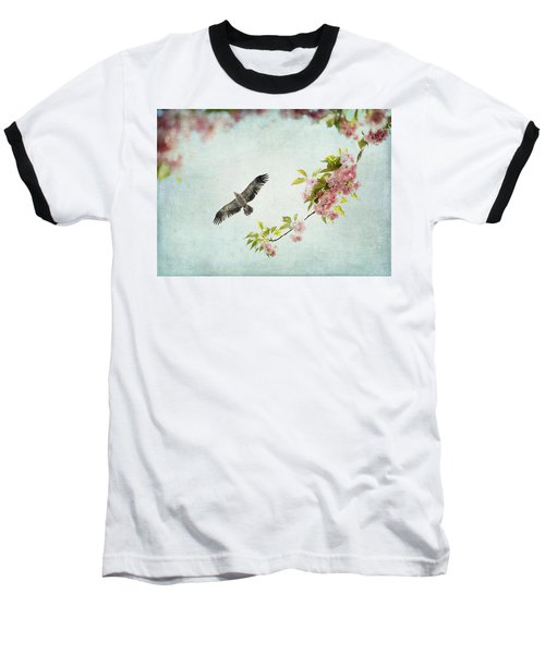 Bird And Pink And Green Flowering Branch On Blue Baseball T-Shirt by Brooke T Ryan
