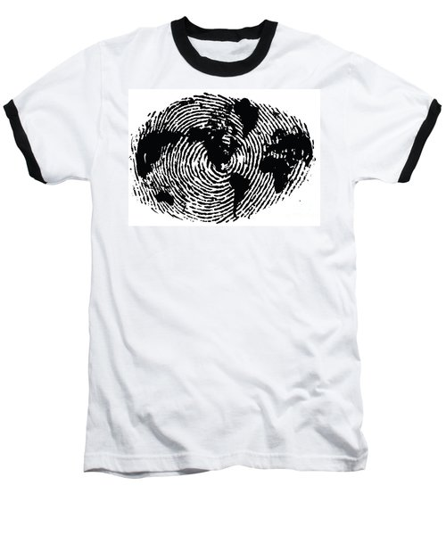 black and white ink print poster One of a Kind Global Fingerprint Baseball T-Shirt