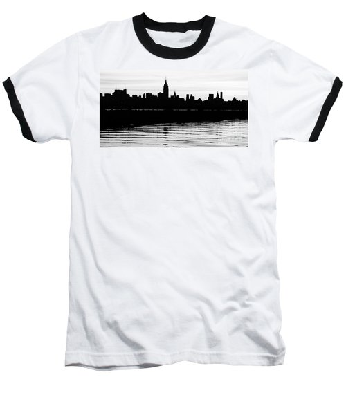 Baseball T-Shirt featuring the photograph Black And White Nyc Morning Reflections by Lilliana Mendez