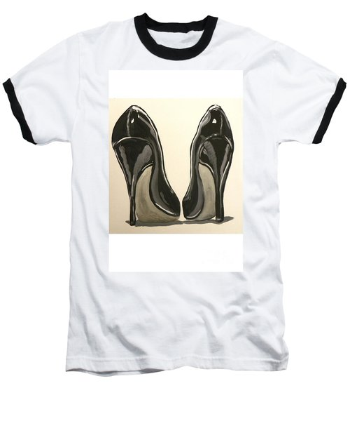 Baseball T-Shirt featuring the painting Black Pumps by Marisela Mungia