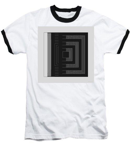 Baseball T-Shirt featuring the digital art Black White Gray Square Geometric by Judi Suni Hall
