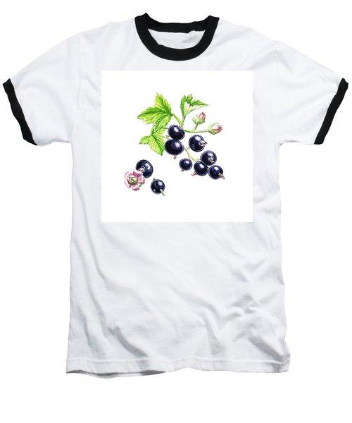 Baseball T-Shirt featuring the painting Blackcurrant Botanical Study by Irina Sztukowski
