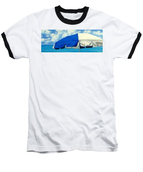 Blue Beach Umbrellas 1 Baseball T-Shirt