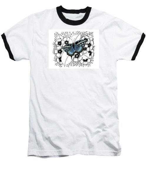 Blue Butterfly Baseball T-Shirt by Billinda Brandli DeVillez
