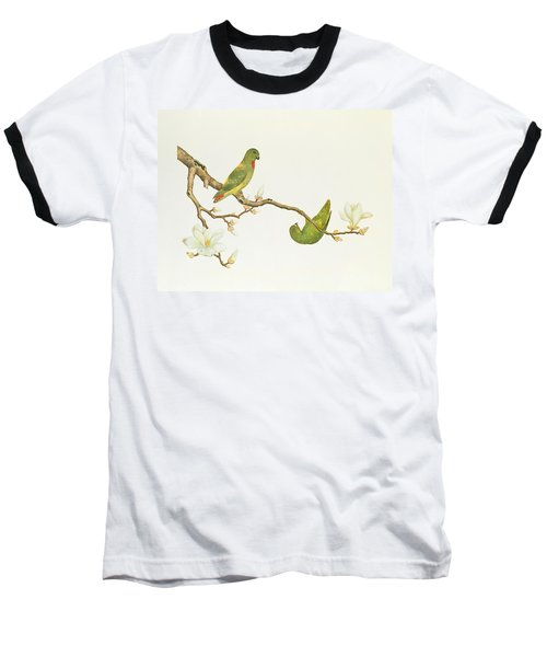 Blue Crowned Parakeet Hannging On A Magnolia Branch Baseball T-Shirt by Chinese School