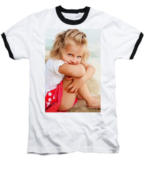 Baseball T-Shirt featuring the painting Blue Eyed Girl by Tim Gilliland