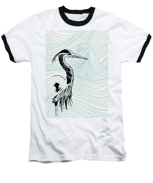 Blue Heron On Waves Baseball T-Shirt