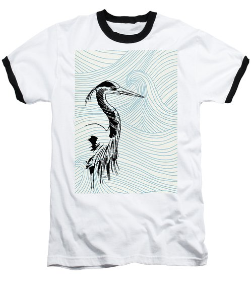 Blue Heron On Waves Baseball T-Shirt