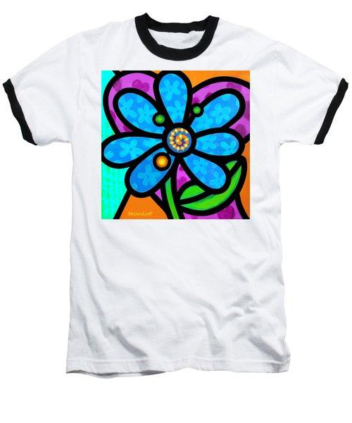 Blue Pinwheel Daisy Baseball T-Shirt