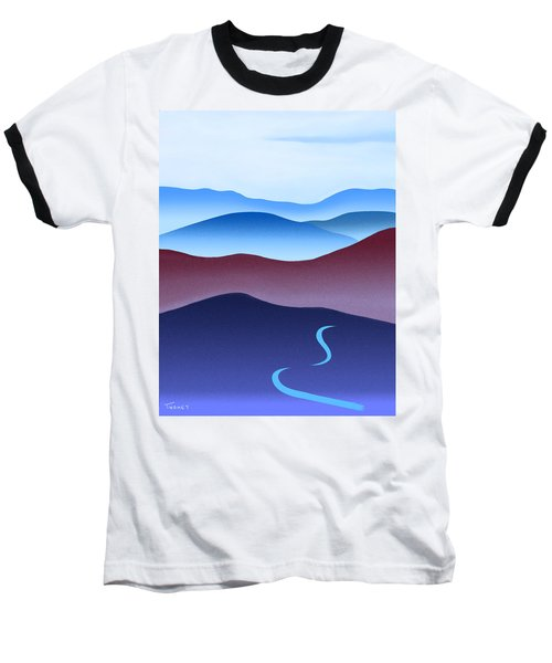Blue Ridge Blue Road Baseball T-Shirt by Catherine Twomey