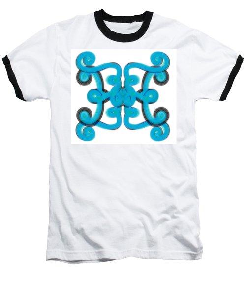 Baseball T-Shirt featuring the digital art Blue Scroll Square by Christine Fournier