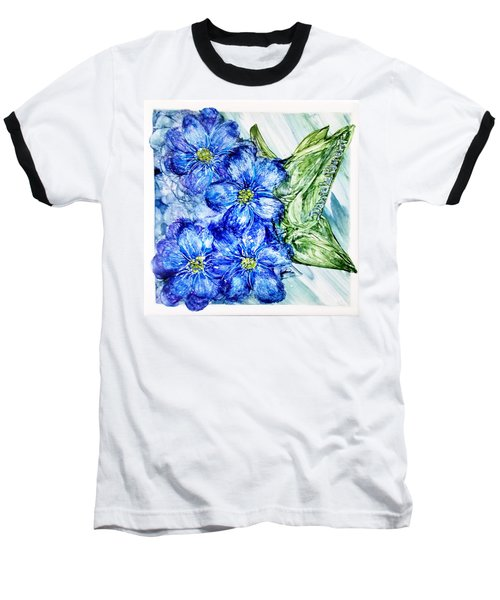 Blue Springy Flowers Alcohol Inks Baseball T-Shirt