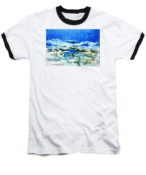Blue Surf Baseball T-Shirt by Joan Hartenstein