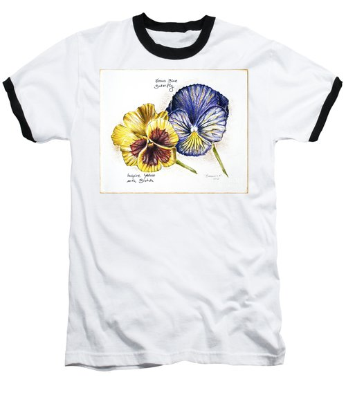 Blue Yellow Pansies Baseball T-Shirt by Katharina Filus