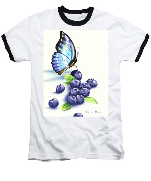 Blueberries And Butterfly Baseball T-Shirt