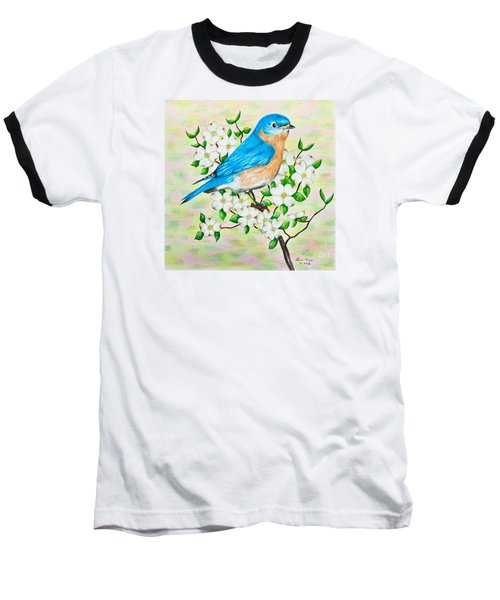 Bluebird And Dogwood Baseball T-Shirt by Lena Auxier