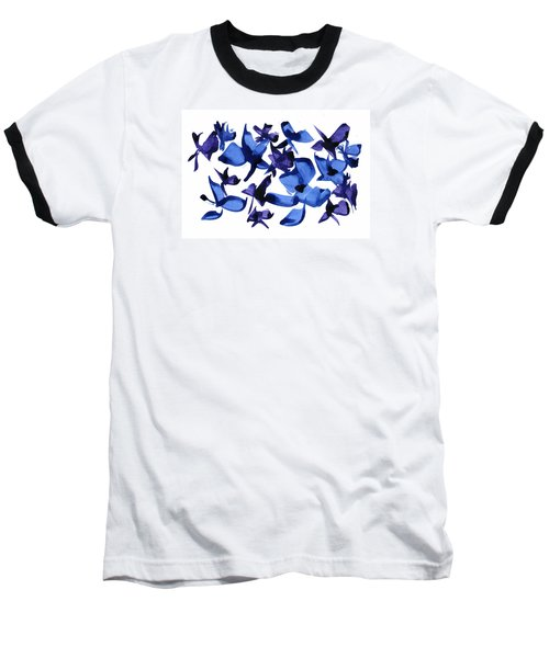 Baseball T-Shirt featuring the mixed media Blues And Violets by Frank Bright