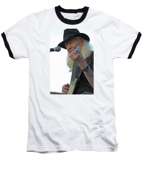 Baseball T-Shirt featuring the photograph Bluesman Johnny Winter by Mike Martin
