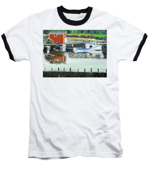 Baseball T-Shirt featuring the painting Boat At Louisburg Ns by Michael Daniels