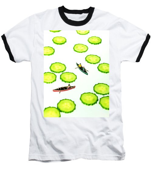 Boating Among Cucumber Slices Miniature Art Baseball T-Shirt by Paul Ge