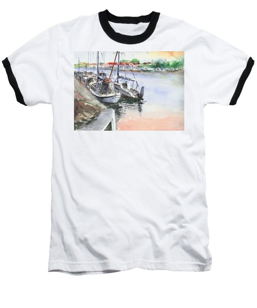 Baseball T-Shirt featuring the painting Boats Inshore by Faruk Koksal