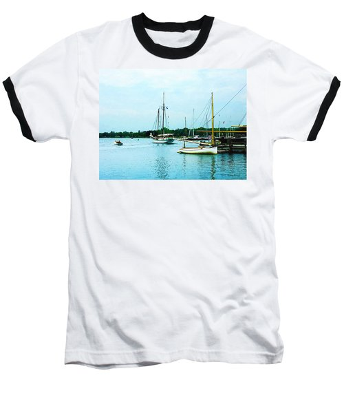 Baseball T-Shirt featuring the photograph Boats On A Calm Sea by Susan Savad
