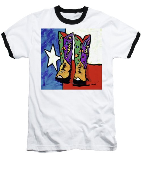 Boots On A Texas Flag Baseball T-Shirt