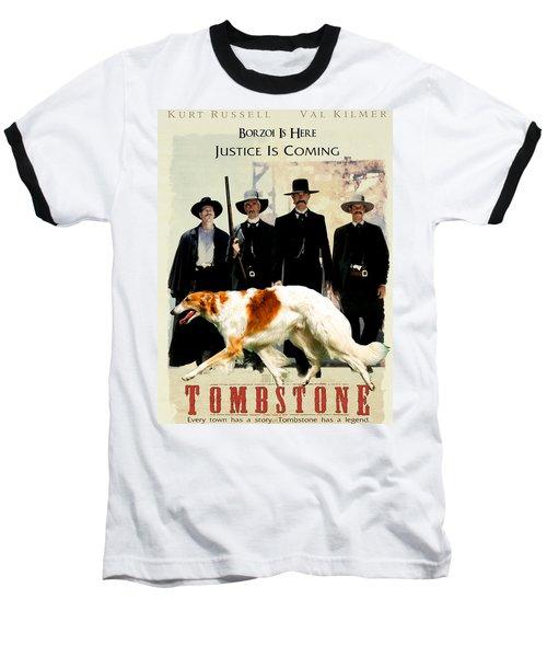 Borzoi Art - Tombstone Movie Poster Baseball T-Shirt