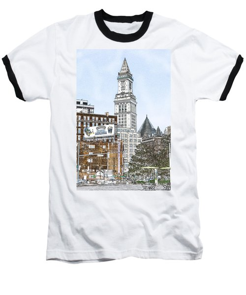 Boston Custom House Tower Baseball T-Shirt