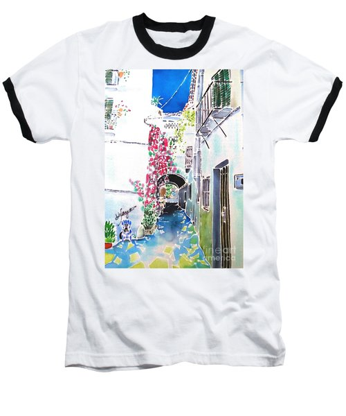 Baseball T-Shirt featuring the painting Bougainvillea Path  by Hisayo Ohta
