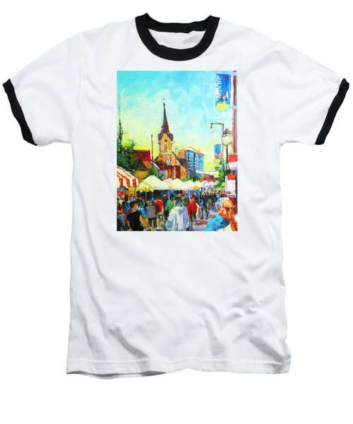 Baseball T-Shirt featuring the painting Brady Street by Les Leffingwell