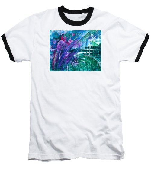 Baseball T-Shirt featuring the painting Bridge Park by Adria Trail
