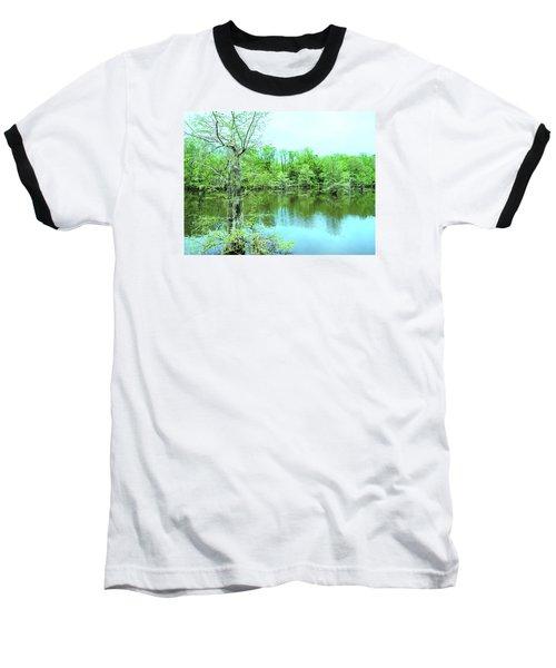 Bright Green Mill Pond Reflections Baseball T-Shirt