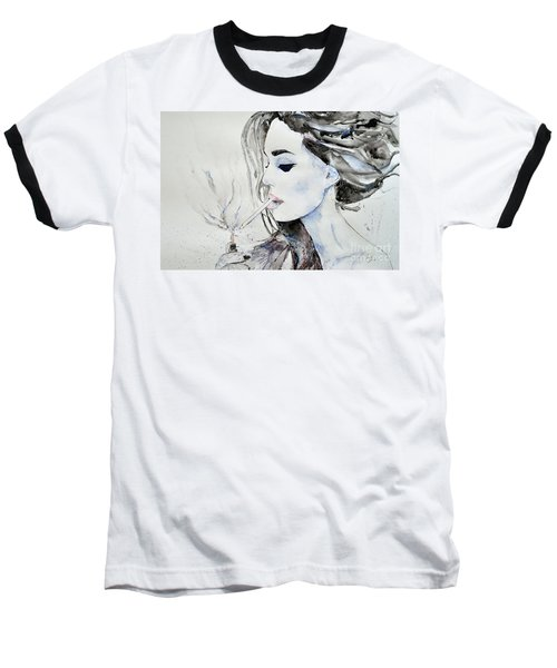 Baseball T-Shirt featuring the painting Brigitte Bardot by Ismeta Gruenwald