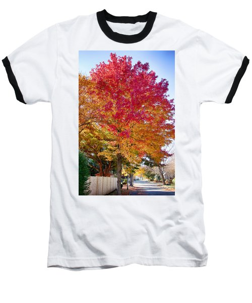 brilliant autumn colors on a Marblehead street Baseball T-Shirt by Jeff Folger
