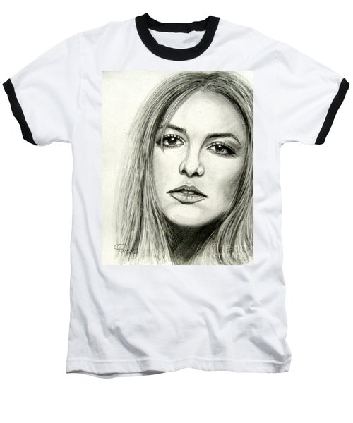 Baseball T-Shirt featuring the drawing Britney Spears by Patrice Torrillo