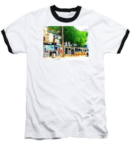 Broadway Oyster Bar With A Boost Baseball T-Shirt by Kelly Awad
