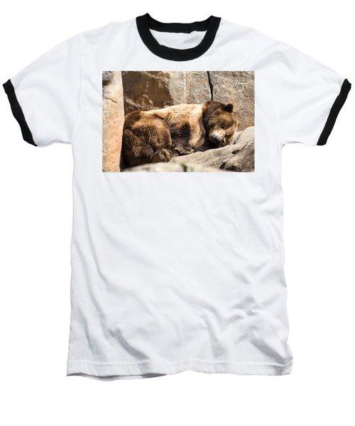 Brown Bear Asleep Again Baseball T-Shirt by Chris Flees