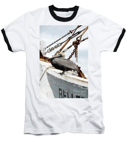 Brown Pelican Baseball T-Shirt by Valerie Reeves