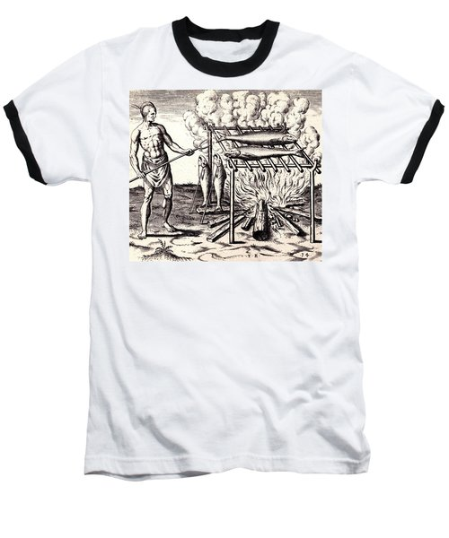 Baseball T-Shirt featuring the drawing Broylinge Their Fish Over The Flame by Peter Gumaer Ogden