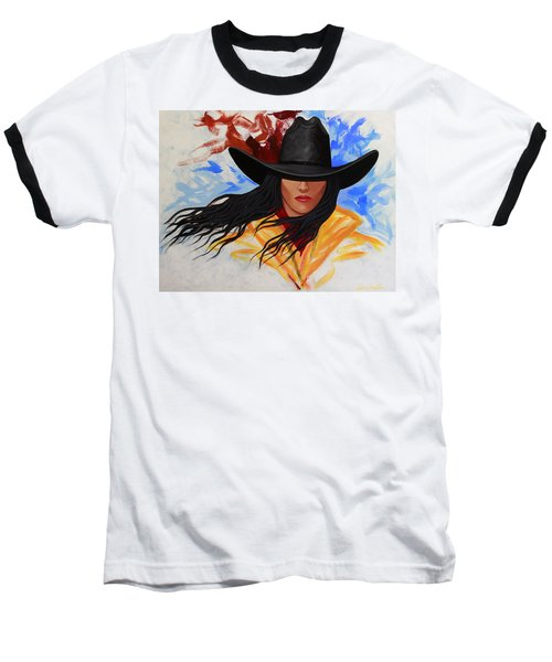 Brushstroke Cowgirl #3 Baseball T-Shirt