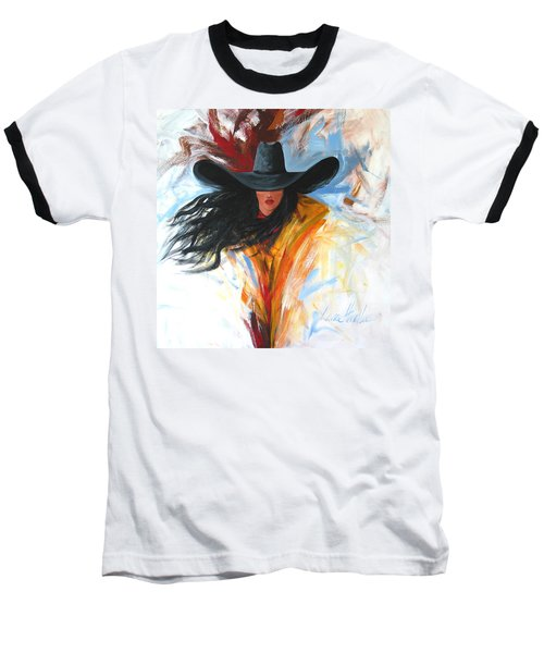 Brushstroke Cowgirl Baseball T-Shirt