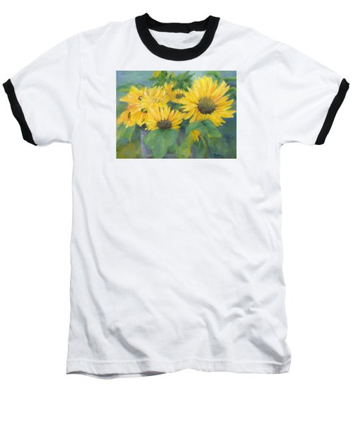 Bucket Of Sunflowers Colorful Original Painting Sunflowers Sunflower Art K. Joann Russell Artist Baseball T-Shirt