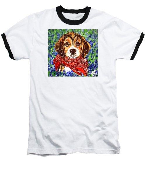Buddy Dog Beagle Puppy Western Wildflowers Basset Hound  Baseball T-Shirt